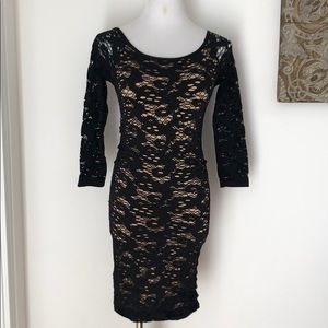 Guess black nude stretch lace bodycon dress